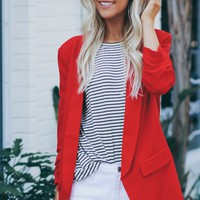 Scrunched 3/4 Sleeve Blazer Red
