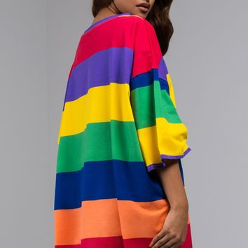 AKIRA Label Striped Oversized T Shirt Dress in Rainbow Multicolor