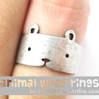 Simple Cute Teddy Bear Animal Wrap Hug Ring in Silver Sizes 4 to 9
