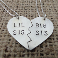 "Sterling Silver ""Lil Sis, Big Sis"" Heart Necklace - Sterling Silver Sisters Necklace"