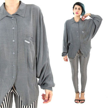 80s Draped Batwing Shirt Dolman Long Sleeve Blouse Grey Silver Shirt Womens Vintage Button Down Collared Shirt Avant Garde Cut Out (S/M)