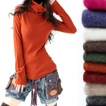 European Style Turtleneck Collar Pullovers Cashmere Blend Knitting Horn Sleeve Loose Bottoming Shirt Sweaters Knitwear