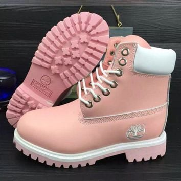 Timberland Rhubarb Boots Fashion Men Women Personality High Help Shoes Waterproof Martin Boots Couple Boots Pink I