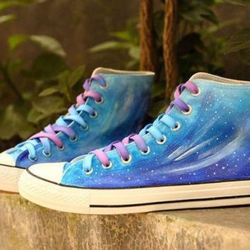 CREYONS Blue Gradient Galaxy shoes,Vans sneakers,star ombre women shoes,best gift