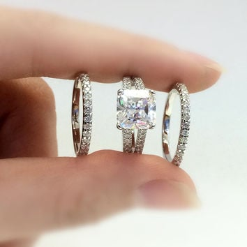 3.10 Carat Center Wedding Set Rings-Princess Cut Diamond Simulants-Bridal Set Rings-Engagement Ring-Promise Ring-925 Sterling Silver-R33722