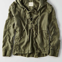 AEO Lace-Up Anorak, Olive
