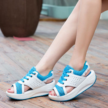 Women's Shoes Summer Wedges Sandals Fashion Lady Tennis Open Toe Slimming Woman Casual Shoes Breathable Lace Platform Sandalias