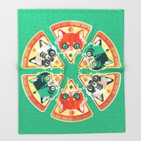 Pizza Slice Cats  Throw Blanket by Chobopop