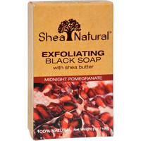 Shea Natural Black Soap - Shea Butter Exfoliating Midnight Pomegranate - 5 Oz