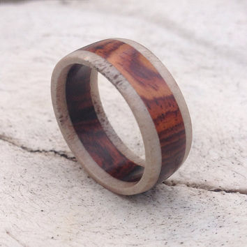 Antler and Cocobolo Wood Ring