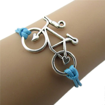 Cuff Bangle Women Jewelry Vintage Leather Rope Bicycle Charm Bracelets Personalized H made Rope Chain Bike Wrap Bracelet SM6