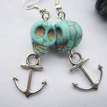 earrings---3D blue rammel skull&antique silver little anchor