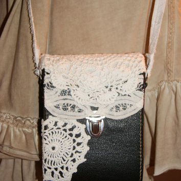 Boho Bag Steampunk Goth Cross Body Boho Messenger Vintage Camera Bag Crochet Lace Doily