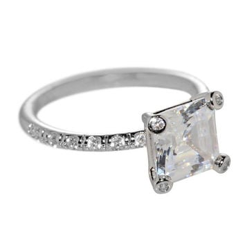 Cubic Zirconia Engagement Ring Sterling Silver 8mm 2.5ct Princess AAAAA Grade CZ