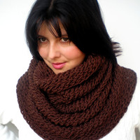 Chocolate Brown Ziggy Circle Scarf Soft Mixed WoolLace  Neckwarmer  Fashion  Chunky  Circle Scarf NEW