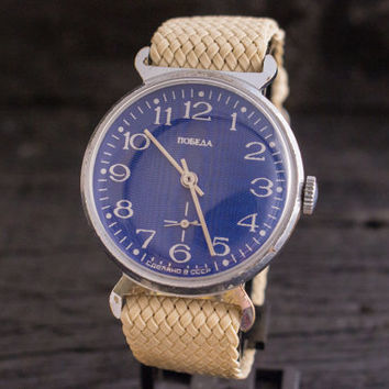 Vintage Pobeda mens watch with blue dial, vintage russian watch ussr cccp