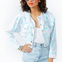 Bleached Bloom Crop Denim Jacket
