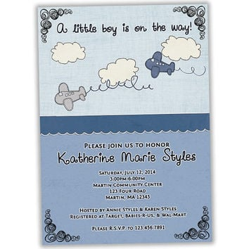 Antique Airplane Baby Shower Invitations - Vintage Airplane Invitation - Airplane Baby Shower - Its a Boy Baby Shower Invites - Blue Doodles