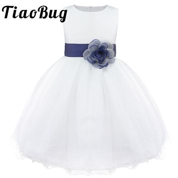 TiaoBug Brand New 9 Colors Knee-Length Formal Flower Girl Dresses for Wedding Princess Girl Pageant First Communion Dress 2-14Y