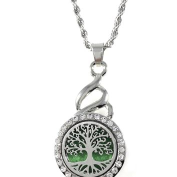 "Snap Charm Jewelry Pendant Necklace Aromatherapy Essential Oil Diffuser Locket 22mm Tree Includes 18"" Chain"