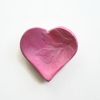 Handmade Bubble Gum Pink Heart Shaped Polymer Clay Ring Dish / Ring Holder / Wedding Ring Holder