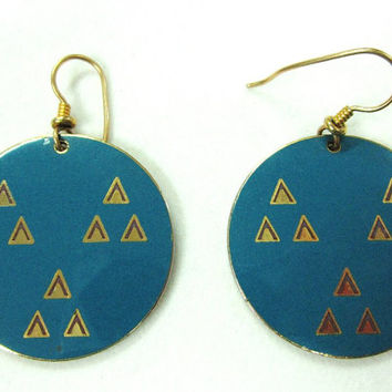Vintage Laurel Burch Himalaya Pierced Earrings Turquoise Teal