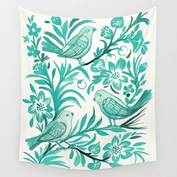 Blue Birds Wall Tapestry by CRYSTAL WALEN