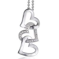 925 Sterling Silver 3 Heart Diamond Pendant Necklace(GH, I2-I3, 0.08ct): Jewelry