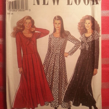 Uncut Simplicity New Look Sewing Pattern, 6097! 8-10-12-14-16-18 Small/Medium/Large/Women's/Misses/Long Sleeve Loose Fitting Dress/Scoop Ne