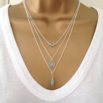 3 Silver Layering Necklaces uk Shop **ALSO IN GOLD**