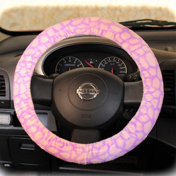 Steering-wheel-cover-cheetah-print-wheel-car-accessories-Pink---Lilac-Giraffe-fur-wheel-cover