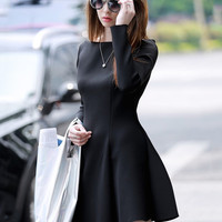 Long Sleeve Sheath A-line Mini Skater Dress