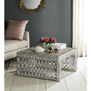 Shop Safavieh Shila White Wash Wicker Coffee Table at Lowes.com