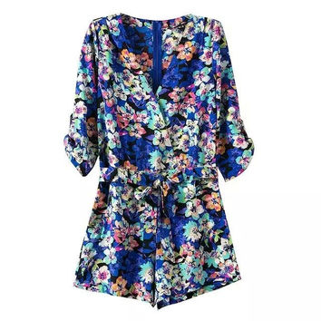 Summer Women's Fashion Stylish Casual V-neck Floral Print Jumpsuit [4920631748]