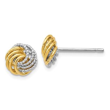 8mm (5/16 in) 14k Two-Tone Gold Polished & Textured Love Knot Earrings