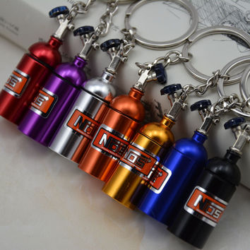 Creative New NOS Mini Nitrous Oxide Bottle Keyring Key Ring Keyfob Stash Pill Box Storage Turbo Keychain