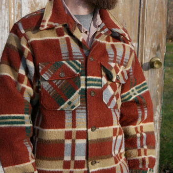 Mens Rust Red Hunter Green Plaid CPO Wool Field Jacket Woolrich Vintage Size L Large