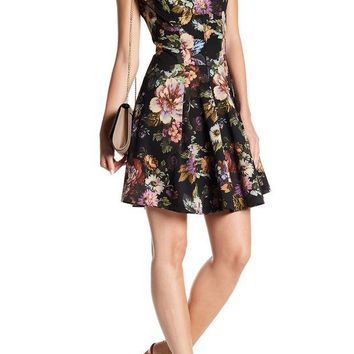 DCCKHB3 Gabby Skye | Cap Sleeve Floral Print Fit & Flare Dress