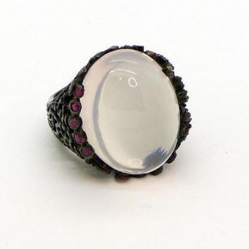 Pink Rose Quartz and Ruby Sterling Silver Huge Ring