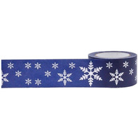 Little B: Winter Holidays Blue Washi Tape with Silver Foil Snowflakes, 25mm Wide, with Cutter
