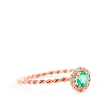 Green Emerald Ring , Pave Diamond Ring, Gold Emerald Ring,Round Emerald, Gold Ring, Engagement, This Gold Ring, Rope Band, RingTula Jewelry
