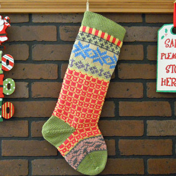 Personalized Christmas Stocking Hand Knit in Fern Green with ivy and snowflakes, colorful stocking, Fair Isle knit stocking
