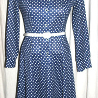 Plus Size Vintage Polka Dot Swing Dress, Retro Fashion,  Navy and White Antique Alchemy