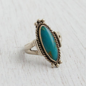 Vintage Sterling Silver Turquoise Ring - Retro Size 7 1/2 Native American Tribal Jewelry / Marquise Blue Stone