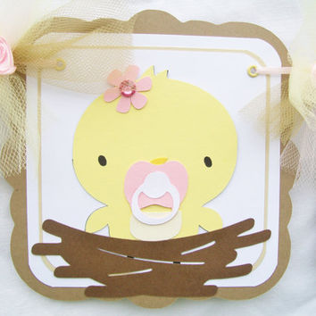 Baby chick, yellow chick, baby shower banner, pink, yellow, white and brown, its a girl - READY TO SHIP