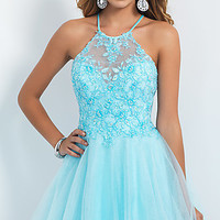 Short Lace Embellished Intrigue by Blush Homecoming Dress