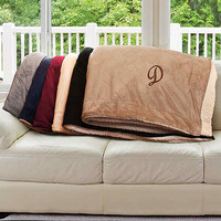 Embroidered Initial Sherpa Blanket