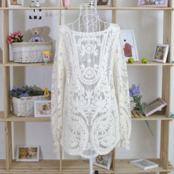 Fashion 2016 Sweater for Women Sleeve Embroidery Floral Lace Crochet Shirt Top Hollow Blouse Sweaters *35