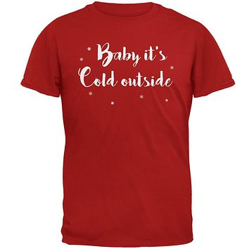 Christmas Baby it's Cold Outside Script Snowflakes Mens Soft T Shirt