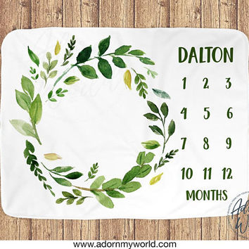 Boy Milestone Blanket, Baby Boy Monthly Blanket, Boy Month Blanket, Green Leaves, Foliage Blanket, Greenery, Green Wreath, Baby Shower Gift